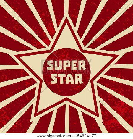 Super star banner. Starring shape. Success superstar Victory winning  Concept. Design idea for Leader boss, sport hero, movie actor red carpet awarding ceremony background. Vector illustration