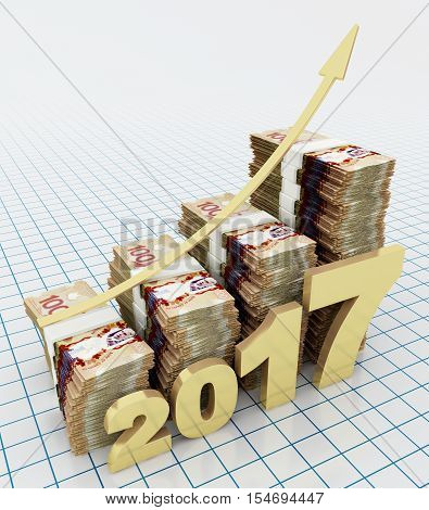 Increasing value of Canadian dollar in 2017. 3d rendering.