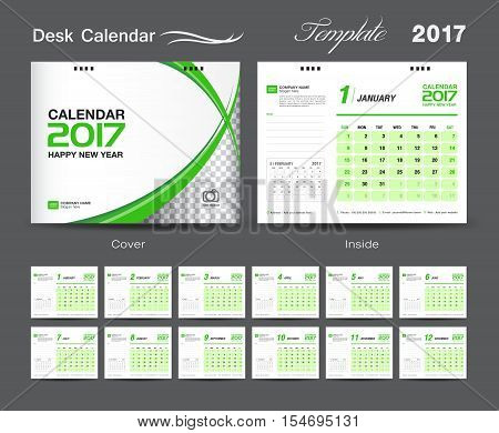 set white and green Desk Calendar 2017 template, design cover, Desk Calendar Calendar 2017, Business flyer design, green cover template