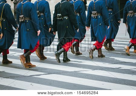 WW1 uniform French Battalion marching across zebra crossing.