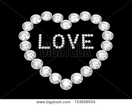 Heart of diamonds with word love 3D rendering on black