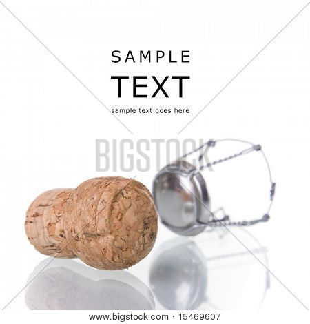 champagne cork isolated on white with reflection (selective focus)