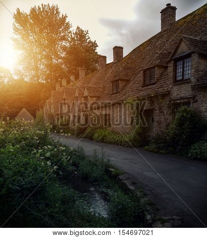 Pretty sunset over English country cottages