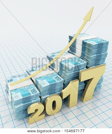 Increasing value of Brazilian real in 2017. 3d rendering.