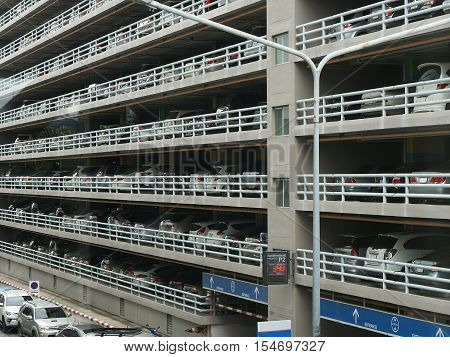 Parking garage building with a lot of cars
