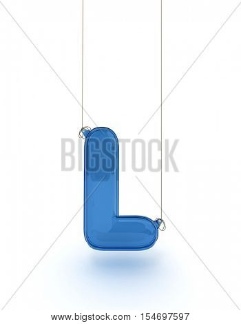 l letter from a hanging alphabet 3D rendering