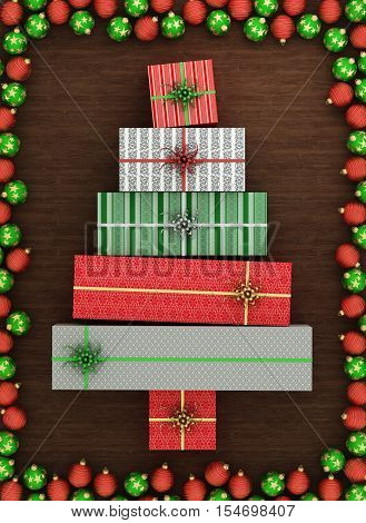Wrapped gift boxes arranged as christmas tree, surrounded with red and green christmas balls on wooden floor. 3d illustration.