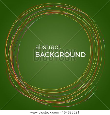 Beautiful light circles on a green background. Abstract flash light circles. Vector technology background.