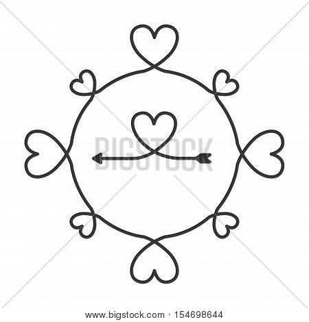 silhouette with continued lines shape heart vector illustration