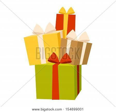 Vector gift box view cardboard container pack. Gift box carton package paper. Gift box celebration holiday receive icon. Some holiday celebrate gift box isolated
