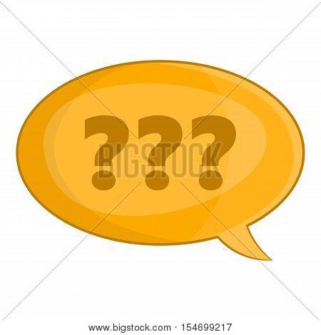 Speech bubble with question mark icon. Cartoon illustration of speech bubble vector icon for web design