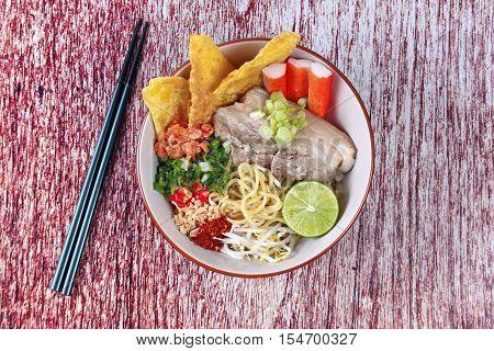 Spicy sour Ramen (Japanese noodle) soup as
