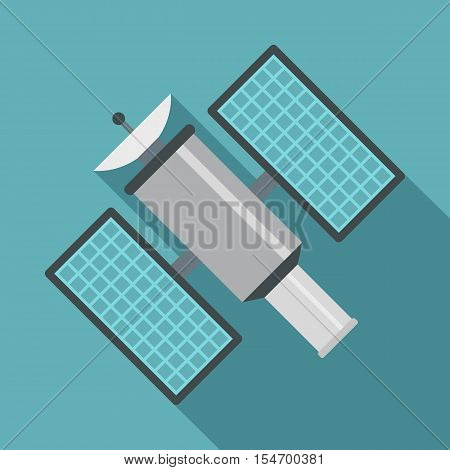 Satelite icon. Flat illustration of satelite vector icon for web isolated on baby blue background
