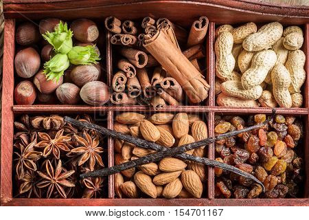 Closeup Of Ingredients And Nuts For Chocolate