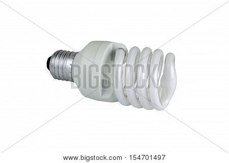 white energy saving bulb Illuminated light bulb CFL bulb photo on white background