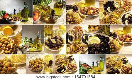 close up shot of olives and olive oil
