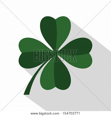 Green four leaf clover icon. Flat illustration of Four leaf clover vector icon for web isolated on white background
