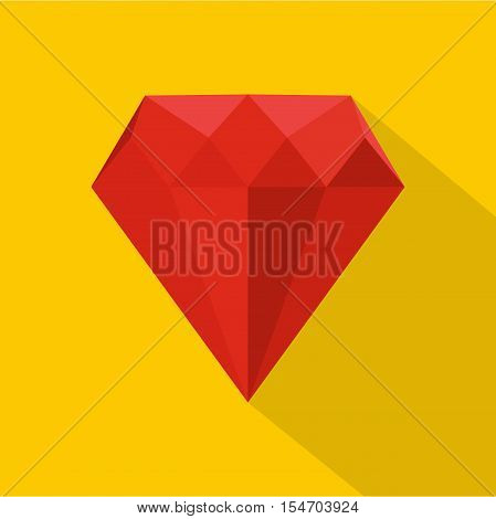 Ruby icon. Flat illustration of ruby vector icon for web isolated on yellow background