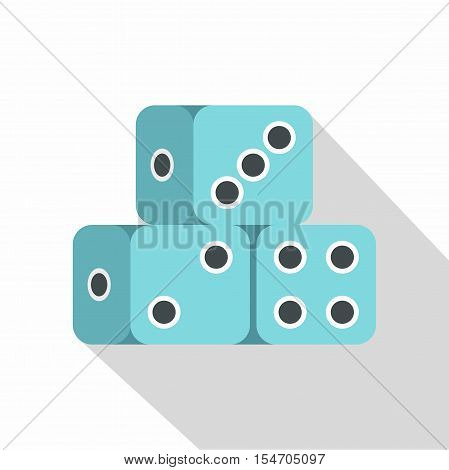 Blue dice cubes icon. Flat illustration of dice cubes vector icon for web isolated on white background