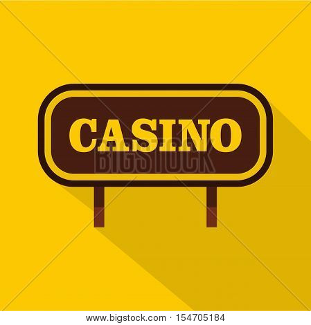 Casino signboard icon. Flat illustration of casino signboard vector icon for web isolated on yellow background