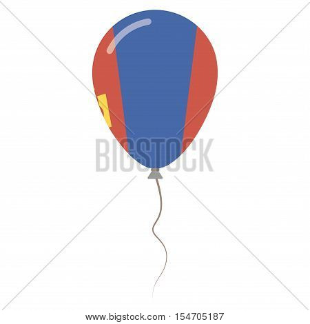 Mongolia National Colors Isolated Balloon On White Background. Independence Day Patriotic Poster. Fl