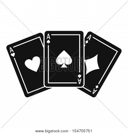 Three aces playing cards icon. Simple illustration of three aces playing cards vector icon for web