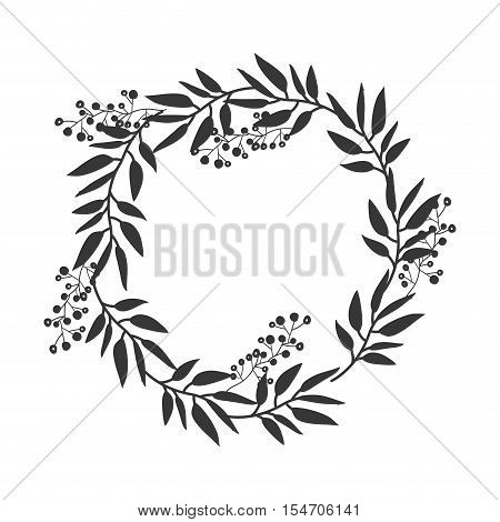 gray scale decorative crown of branch olive large leaves vector illustration