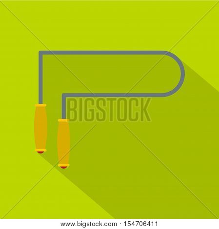 Jump rope icon. Flat illustration of jump rope vector icon for web isolated on green background