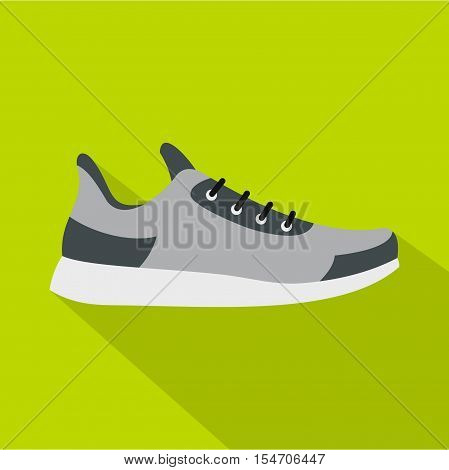 Gray sneaker icon. Flat illustration of gray sneaker vector icon for web isolated on green background