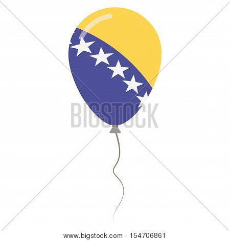Bosnia And Herzegovina National Colors Isolated Balloon On White Background. Independence Day Patrio