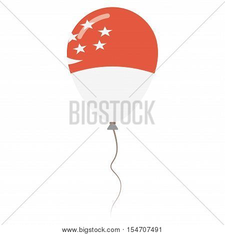 Republic Of Singapore National Colors Isolated Balloon On White Background. Independence Day Patriot