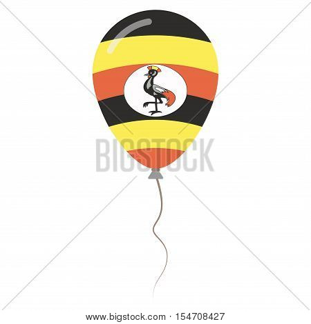 Republic Of Uganda National Colors Isolated Balloon On White Background. Independence Day Patriotic