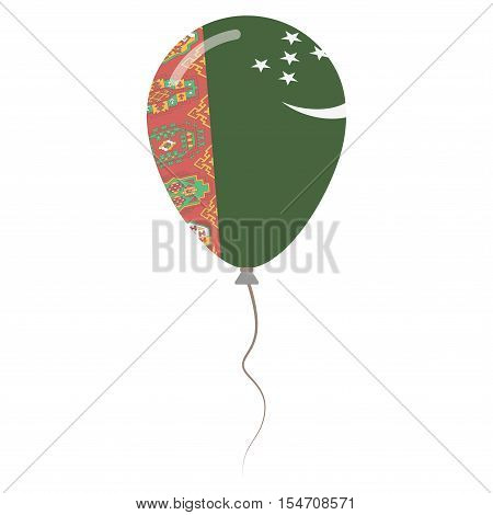 Turkmenistan National Colors Isolated Balloon On White Background. Independence Day Patriotic Poster