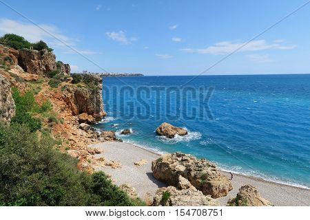 The Mediterranian Sea at the Coast of Konyaalti Beach in Antalya