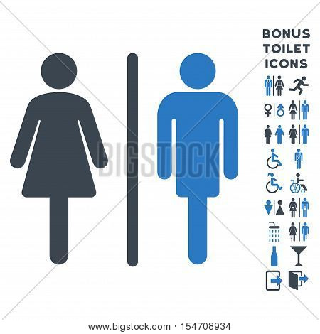 WC Persons icon and bonus man and woman WC symbols. Vector illustration style is flat iconic bicolor symbols, smooth blue colors, white background.