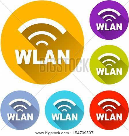 Illustration of six wlan icons with shadow