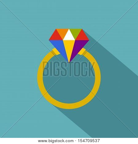 Ring LGBT icon. Flat illustration of ring LGBT vector icon for web
