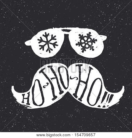 Santa vintage sunglasses and moustache. With snowflake reflection. On textured grunge white background. Vector illustration. Christmas fun concept.
