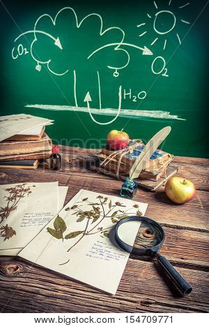 Photosynthesis lecture on biology lesson on old wooden table