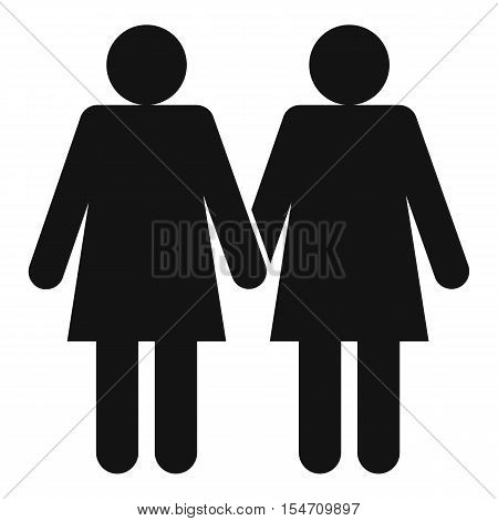 Two girls lesbians icon. Simple illustration of two girls lesbians vector icon for web