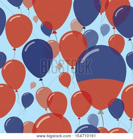 Haiti National Day Flat Seamless Pattern. Flying Celebration Balloons In Colors Of Haitian Flag. Hap