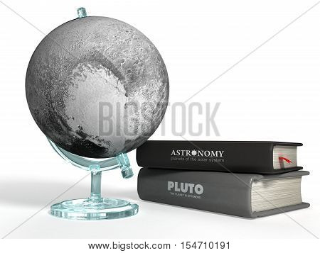 globe of Pluto on the background of thematic books