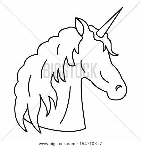 Unicorn icon. Outline illustration of unicorn vector icon for web