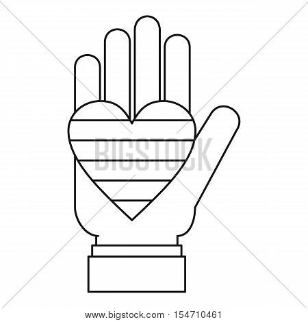 Hand holding heart of LGBT icon. Outline illustration of hand holding heart of LGBT vector icon for web