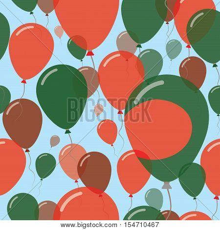 Bangladesh National Day Flat Seamless Pattern. Flying Celebration Balloons In Colors Of Bangladeshi