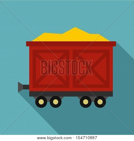Cart on wheels with gold icon. Flat illustration of cart on wheels with gold vector icon for web