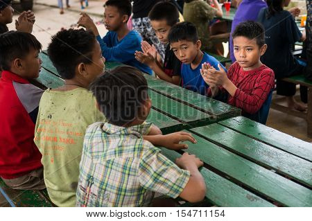CHIANGRAI THAILAND - August 12 2016: Unidentified child orphans in Ban nana house. Ban nana Orphanage take care children from Tribal Problem family.