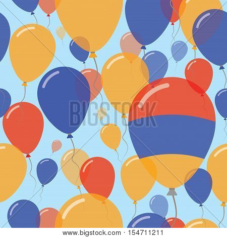 Armenia National Day Flat Seamless Pattern. Flying Celebration Balloons In Colors Of Armenian Flag.