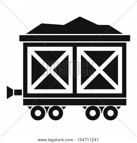 Cart on wheels with gold icon. Simple illustration of cart on wheels with gold vector icon for web