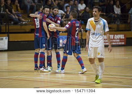 VALENCIA, SPAIN - OCTOBER 28th: Levante team celerate a goal during Spanish league match between Levante UD FS and Catgas Energia at Cabanyal Stadium on October 20, 2016 in Valencia, Spain